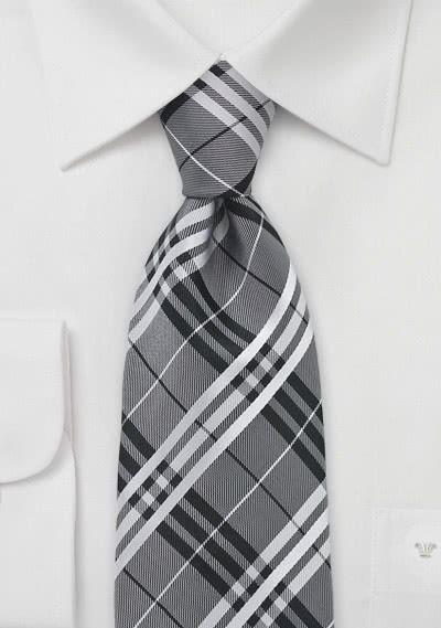 Lange Krawatte dunkelgrau Streifen rosa silber