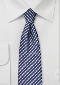 Krawatte Retro-Look Blumen stahlblau