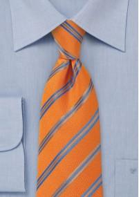Gestreifte Krawatte XXL blau weiß